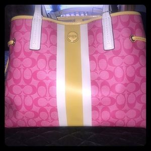Coach oversized tote with wristlet. Pink & Yellow